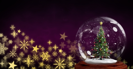 Digital composite of Christmas tree snow globe and Snowflake Christmas pattern