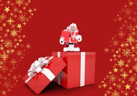 Digital composite of Santa holding gifts in box and Snowflake Christmas pattern with blank space Фото со стока
