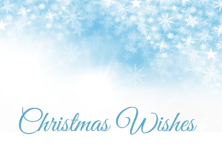 Digital composite of Christmas Wishes text and Snowflake Christmas pattern and blank space on blue