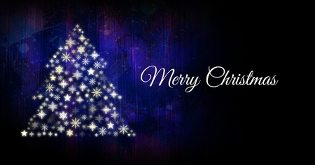 Digital composite of Merry Christmas text and Snowflake Christmas tree pattern shape Stock Photo