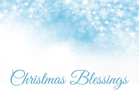 Digital composite of Christmas Blessings text and Snowflake Christmas pattern and blank space on blue