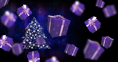 Digital composite of Floating gift boxes and Snowflake Christmas tree pattern shape