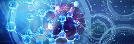 Image of molecules interface against dna structure Banco de Imagens