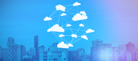Abstract image of cloud computing symbol against trees amidst buildings in city
