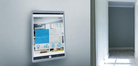 Screen of digital tablet against empty corridor Stock Photo