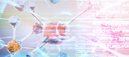 DNA structure against abstract blue text Stock Photo