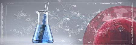 Human sperm against genes diagram on white background