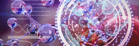 Digital image of DNA interface against dna structure Stock Photo