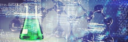 DNA-Struktur gegen Laborflasche mit grüner Lösung Standard-Bild - 93012007