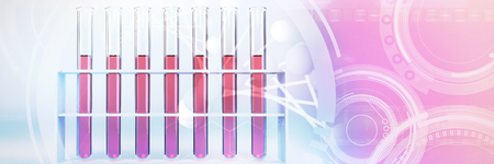 Image of molecules interface against test tube with chemical solution Standard-Bild