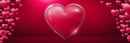Digital composite of Shiny bubbly Valentines hearts in pink room Stock Photo
