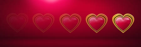 Digital composite of Shiny heart graphic fading in pink room Stock Photo
