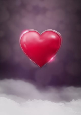 Digital composite of Shiny heart glowing with purple misty background