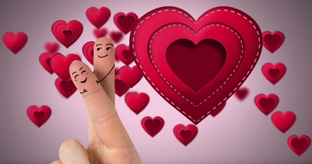 Digital composite of Valentines fingers love couple and Stitched Valentines Heart Stock Photo