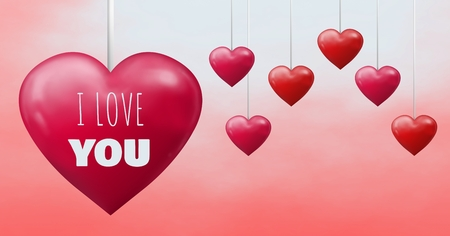 Digital composite of I Love You text and Bubbly Valentines hearts hanging on string