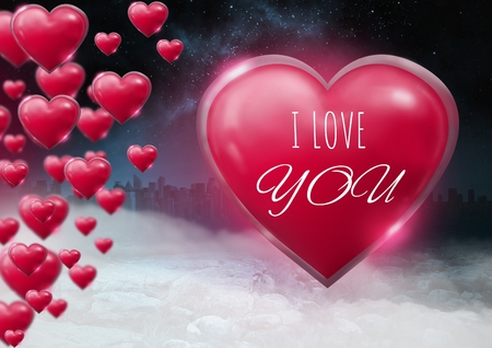 Digital composite of I Love You text and Shiny bubbly Valentines hearts with city misty background Stock Photo