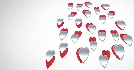 Digital composite of Paper cut out Valentines hearts