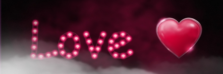 Digital composite of Shiny heart graphic with love text and fog Stock Photo