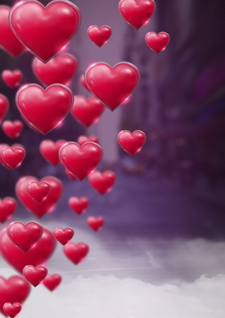 Digital composite of Shiny bubbly Valentines hearts with purple city misty background