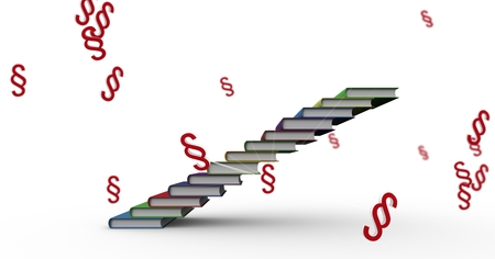 Digital composite of 3D Section symbol icons and book staircase