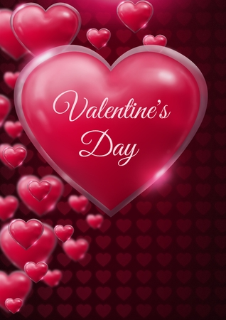 Digital composite of Valentines Day text and Shiny bubbly Valentines hearts