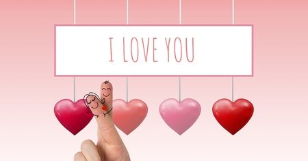 Digital composite of Valentines fingers love couple and I Love You text and Bubbly Valentines hearts hanging on string w