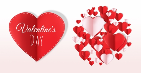 Valentines day design with hearts
