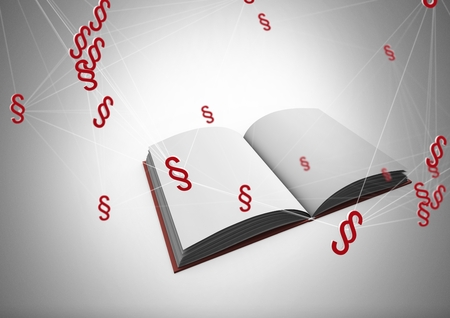 Digital composite of 3D Section symbol icons and open book