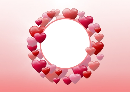 Digital composite of Bubbly Valentines hearts in empty circle Stock Photo