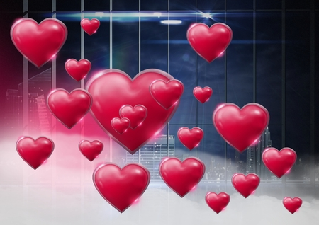 Digital composite of Shiny bubbly Valentines hearts with city window misty background Stock Photo