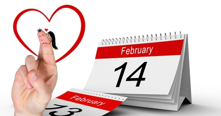 Digital composite of Valentines fingers love couple and 14 February calendar