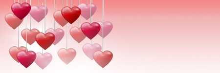 Digital composite of Bubbly Valentines hearts hanging on string Stock Photo