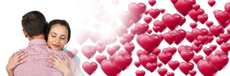 Digital composite of Couple with valentines love transition Stock Photo