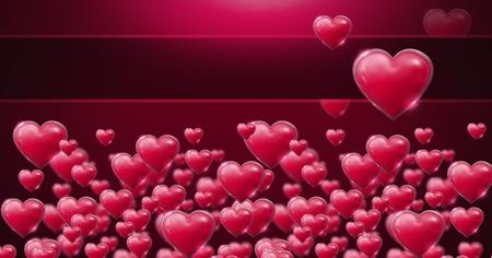 Digital composite of Shiny bubbly Valentines hearts