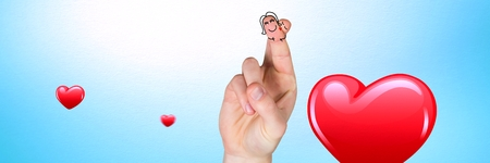 Digital composite of Valentines fingers love couple and shiny hearts
