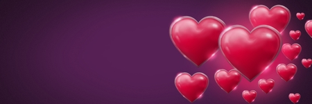 Digital composite of Shiny bubbly Valentines hearts with purple background