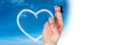 Digital composite of Valentines fingers love couple and cloud heart in sky with white transition Stock Photo