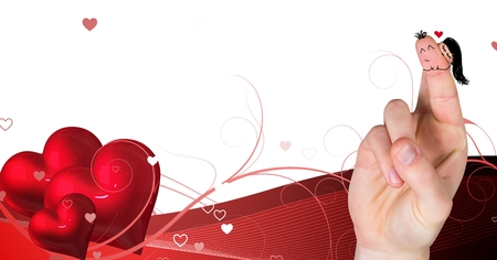 Digital composite of Valentines fingers love couple and heart romantic designs Stock Photo