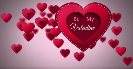 Digital composite of Be my Valentine text and Stitched Valentines Heart