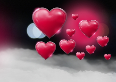 Digital composite of Shiny bubbly Valentines hearts with bokeh misty background