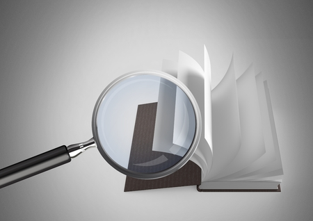 Digital composite of 3D Magnifying glass over book