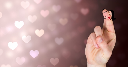 Digital composite of Valentine's fingers love couple and colorful bokeh heart lights Stock Photo - 93201488