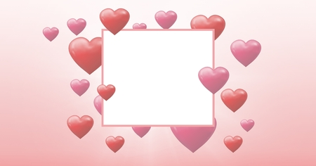 Digital composite of Bubbly Valentines hearts with empty box
