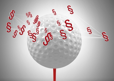 Digital composite of 3D Section symbol icons and golf ball