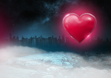 Digital composite of Shiny heart glowing with city misty background