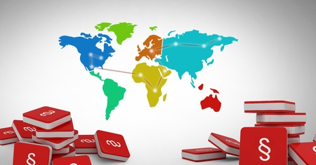 Digital composite of 3D Section Symbol icons with world map