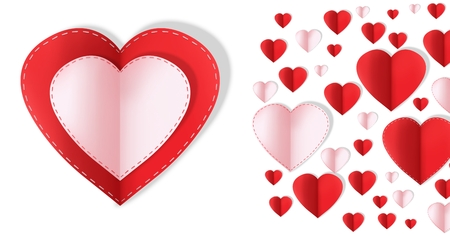 Digital composite of Paper Valentines hearts Stock Photo