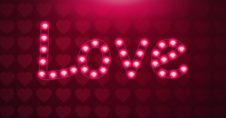 Digital composite of Love text glowing neon light bulbs with heart pattern Stock Photo