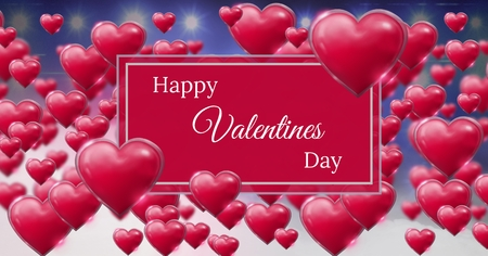 digital composite of happy valentines day text and shiny bubbly valentines hearts with purple misty background