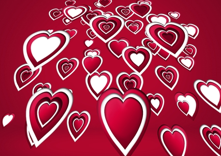 Digital composite of Layered Valentines hearts